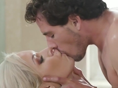 Big boobs blonde milf gives stepson a good nuru massage