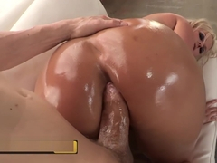 BRAZZERS - Big booty blonde Julie Cash gets her her ass oiled up and stuf