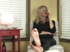 Mature Blonde Smoking & Coughing