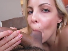 Dazzling platinum young tart Krystal Banks gives a classy blowjob