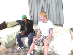 Blonde guy gets banged by a black stud