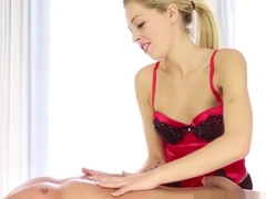Blonde masseuse jerking