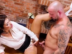 Clothed brunette bimbo in high heels Tera Joy is eager for hard fucking and pissing in this scene