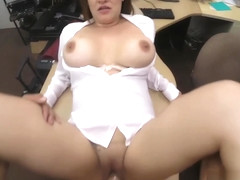 Foxy business lady nailed by pawn dude at the pawnshop