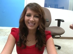 Office slutty Skyla Paige showing off