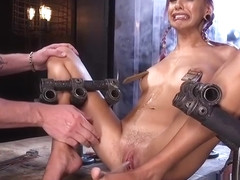 Purple haired slave squirts in bondage