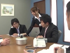 Asian lady shagged two coworkers in her office