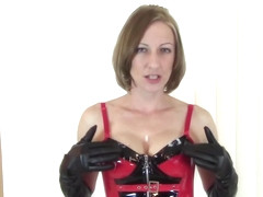 POV CFNM Blowjob to Cumshot by Blonde in Corset Even After Knock at Door