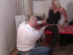 German blond in High Boots