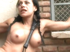 Steve Holmes and Lara Tanelli in lovely european bdsm group sex action in outdoor