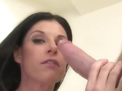 Enticing brunette experienced female India Summer is getting moneyshot