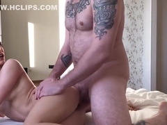 Student with beautiful eyes fucks with boyfriend and get is oral creampie