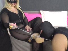 Slave tranning eat own cum lick mistress foot in 4k