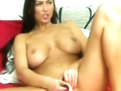 Trinity Gorgeous Brunette Babe Toying Pussy In The Kitchen
