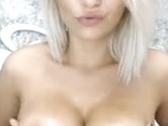 Busty Blonde Hottie With An Awesome Body Poses On Her Live Part 01
