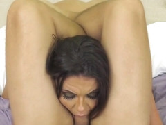 Searing brunette bares her alluring pussy on the casting couch and giv...