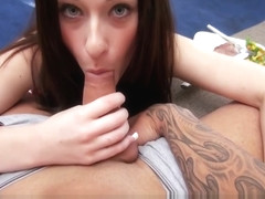 HOT and horny GF helps her man celebrate steak and a BJ day