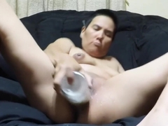 Pussy filled with beer bottle