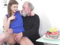 Elderly man is having a blast while Sarah Kay is riding his stiff dick like a pro