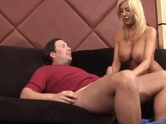 Dude nails busty MILF slut on the couch