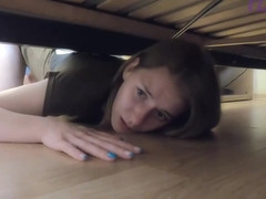 A Young Blonde was Fucked while she was Washing the Floors and got Stuck under the Bed