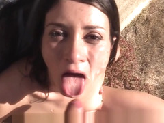 Dirty amateur fucks fake cop outdoor in public