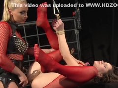 Gagged sub strapon fucked in ass by lezdom