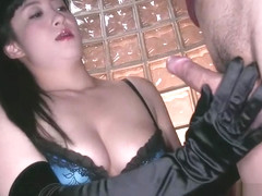 Japanese milf opera black satin glovejob