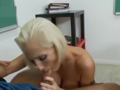 Teasing blond experienced woman Kasey Grant giving a beautiful BJ