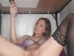 MILKING TABLE - edging, ruined orgasm, and LICKING CUM OFF A PLATE!