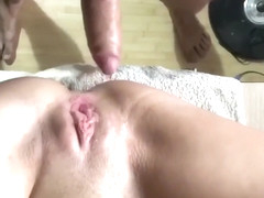 Little pussy gets huge creampie before school time
