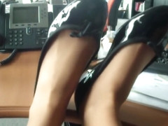 amateur nylon flats ballerina in office