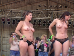 Sporty Young Girls Wet Tshirt Boob Contest at Abate 2014 Biker Rally Algona Iowa - NebraskaCoeds