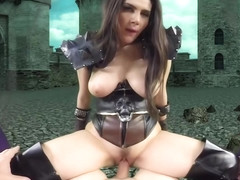 Valentina Nappi likes to encourage her guild mates with a deep blowjob, before a battle