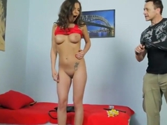 Winsome towheaded asian youthful girl Cosette Ibarra having a real BDSM experience