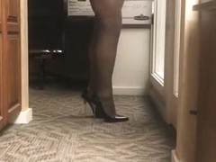 Milf with black pantyhose and heels teasing
