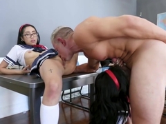 Slutty Asian schoolgirls, Ember Snow and Eva Yi are about to have a threesome with their professor
