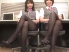 Horny Japanese girl Mika Osawa, Ryo Sena in Crazy Stockings, Handjobs JAV scene
