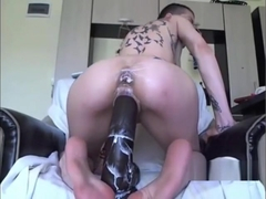 Huge dildo in her prolapsed gaping ass and pussy
