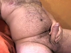 Stuffed stomach, jerkoff overweight penis, cum