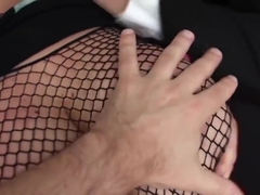 Fishnet plump skank fucked until gaping pussy