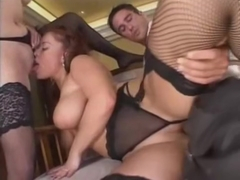 Horny eurosluts fuck the same cock at a bar