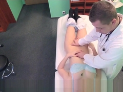 Blonde babe sucks balls to doctor