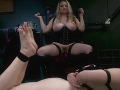 Huge tits bbw dom prepares babe for whip
