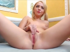 Blonde with Tight Pink Pussy and Long Socks