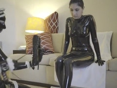 GIRL WITH LATEX CONDOM SUIT
