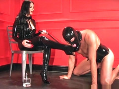 domme in catsuit with long red fingernails wants cum on thigh high boots
