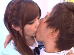 Teen schoolgirl Erika Shibasaki banged hard from behind
