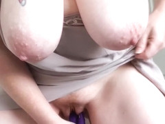 Big Natural Tits Out & Hanging while I Play & Cum