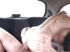 Taxi driver rimming ass on backseat